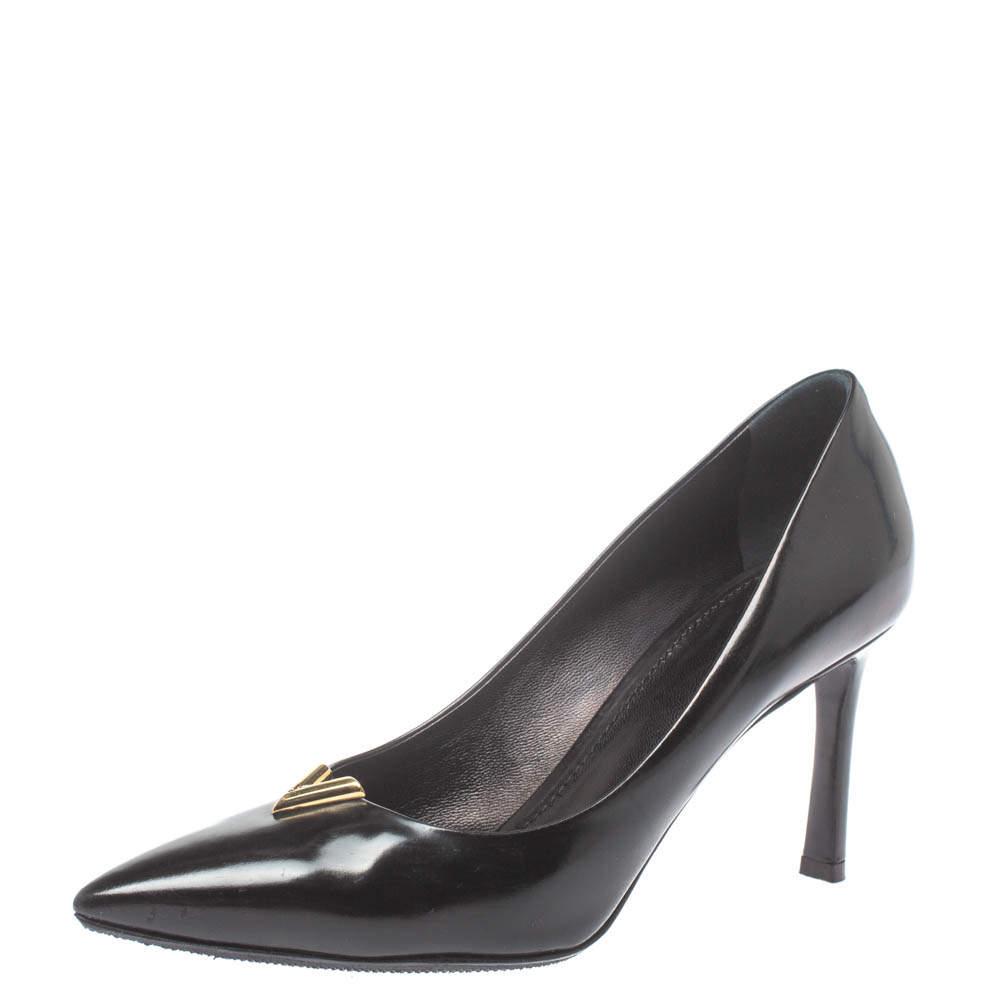 Louis Vuitton Black Leather Heartbreaker Pointed Toe Pumps Size 37