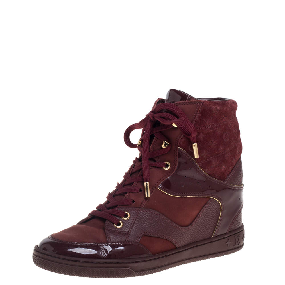 Louis Vuitton Burgundy Patent Leather and Suede Monogram Cliff Top Wedge Ankle Boots Size 37.5