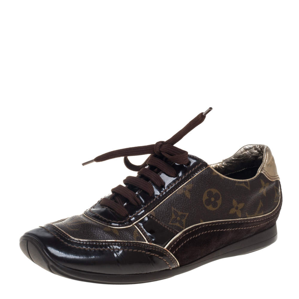 Louis Vuitton Brown Patent Leather And Monogram Canvas Lace Up Sneakers Size 39.5