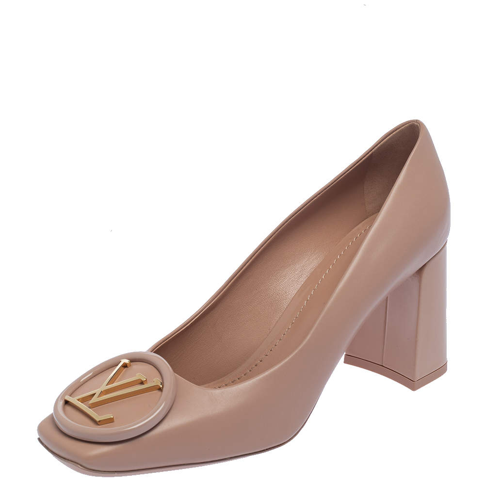 Louis Vuitton Nude Pink Patent Leather Madeleine Square Toe Pumps Size 38