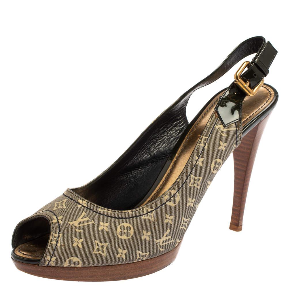 Louis Vuitton Blue/White Mini Lin Monogram Canvas And Patent Leather Kiss Me Slingback Sandals Size 41