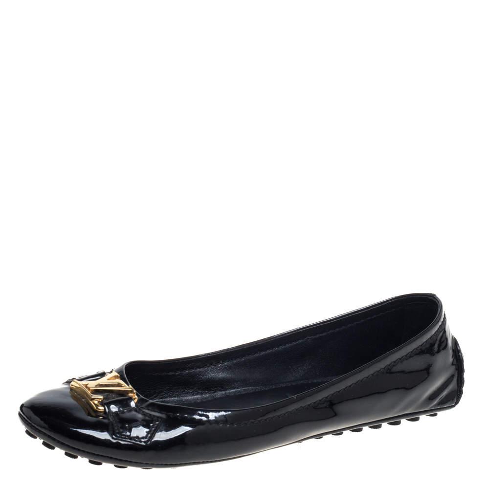 Louis Vuitton Black Patent Leather Oxford Ballet Flats Size 38