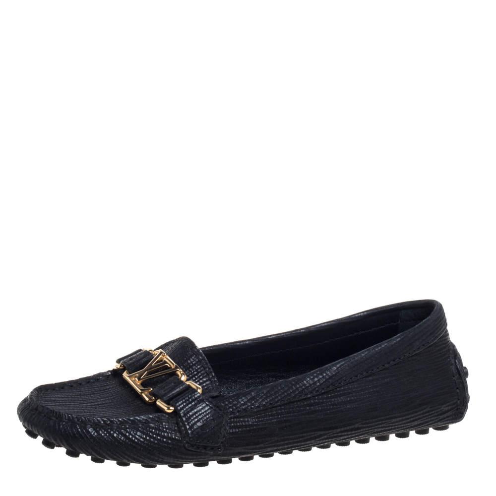 Louis Vuitton Black Epi Leather Oxford Loafers Size 36.5