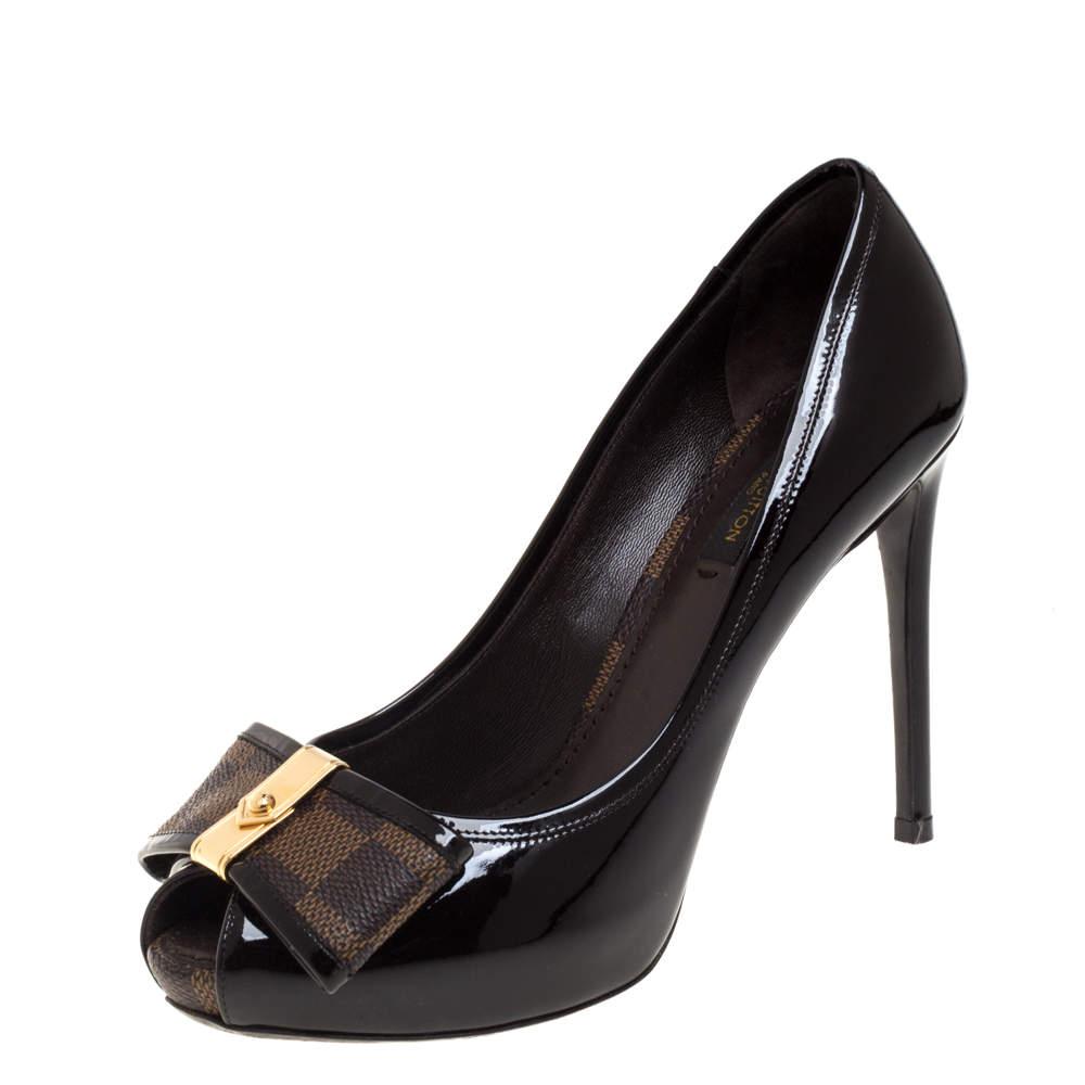 Louis Vuitton Amarante Vernis Leather and Damier Ebene Canvas Bow Valentine Peep Toe Pumps Size 36.5