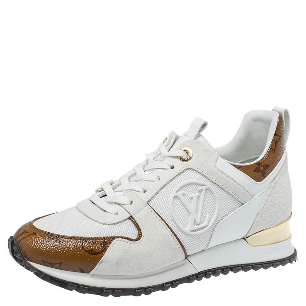Louis Vuitton White Mesh And Monogram Canvas Reverse Run Away Sneakers Size 37