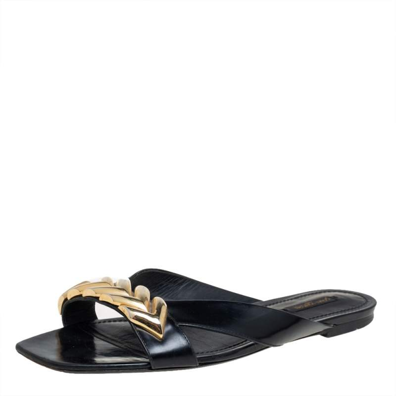 Givenchy Black Leather Chain Trimmed Flat Sandals Size 41