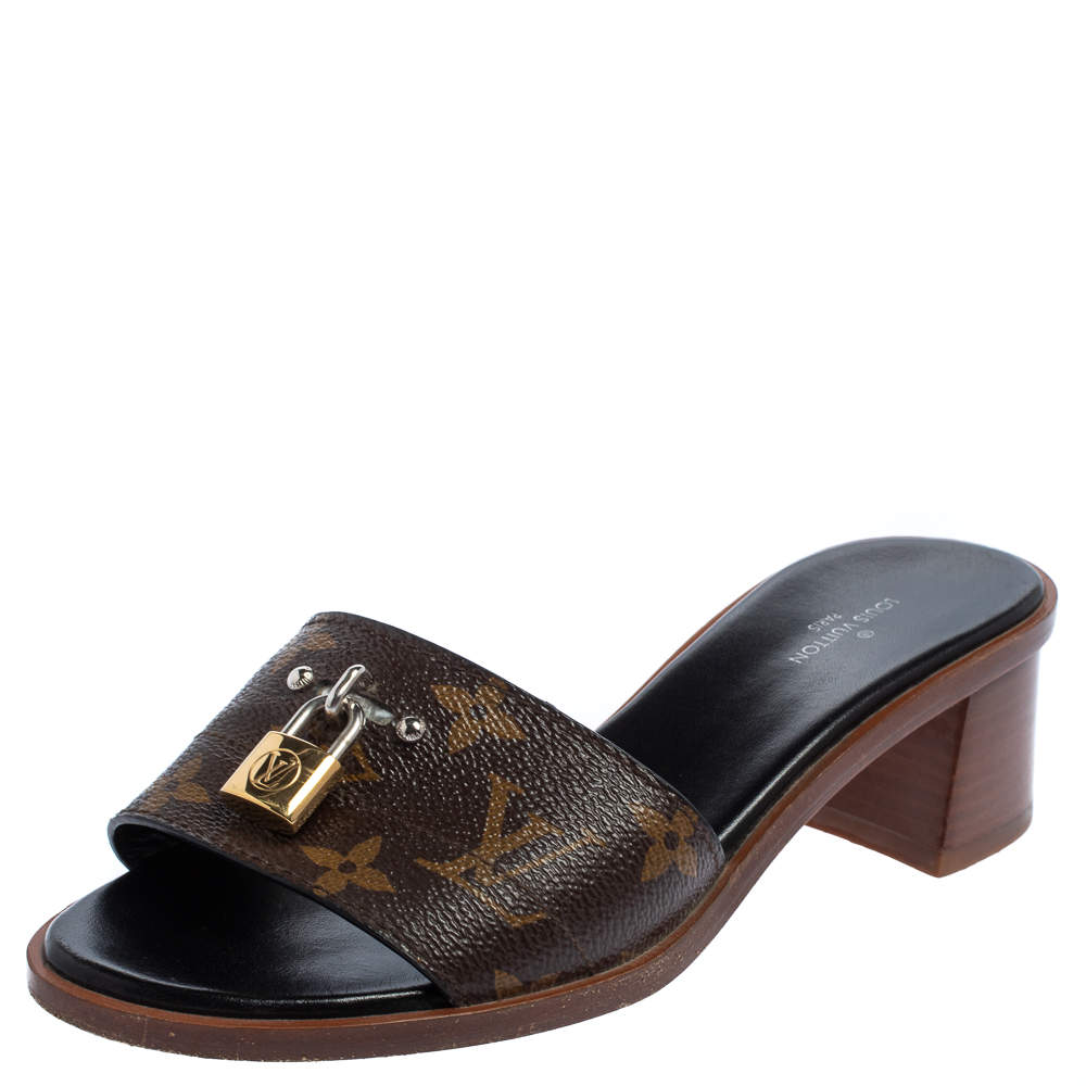 Louis Vuitton Brown/Beige Monogram Canvas Lock It Slide Sandals Size 35