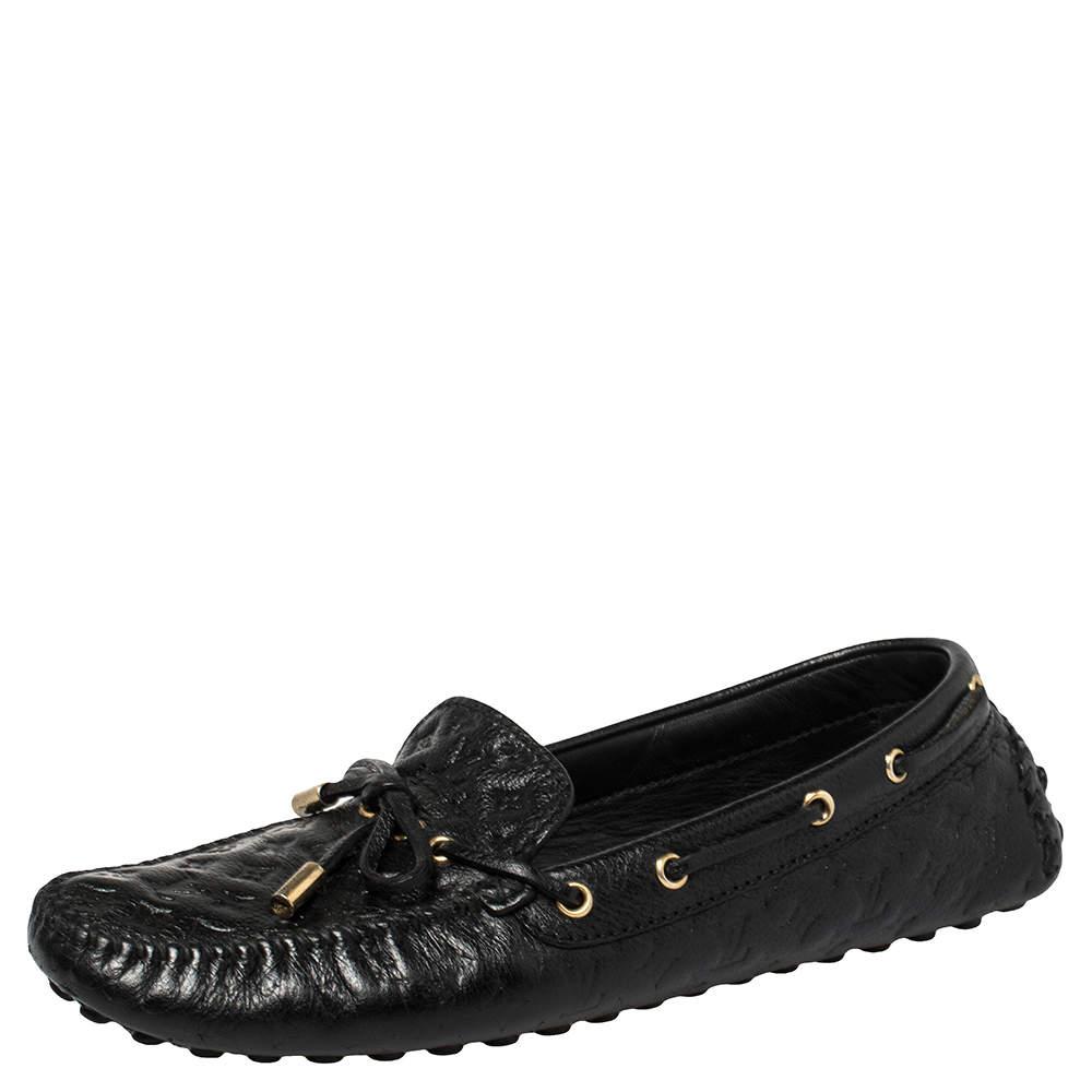 Louis Vuitton Black Monogram Empreinte Leather Loafers Size 39