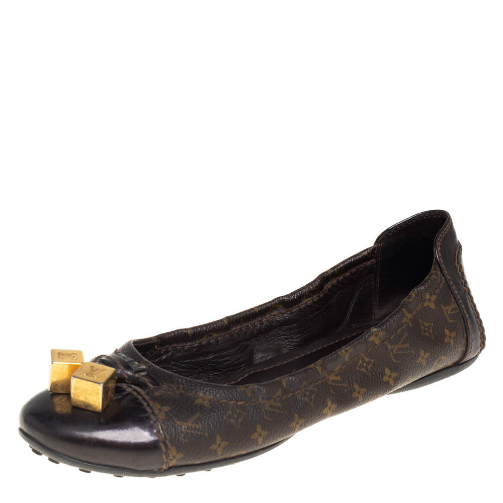 Louis Vuitton Monogram Canvas and Leather Cap Toe Lovely Scrunch Ballet Flats Size 36