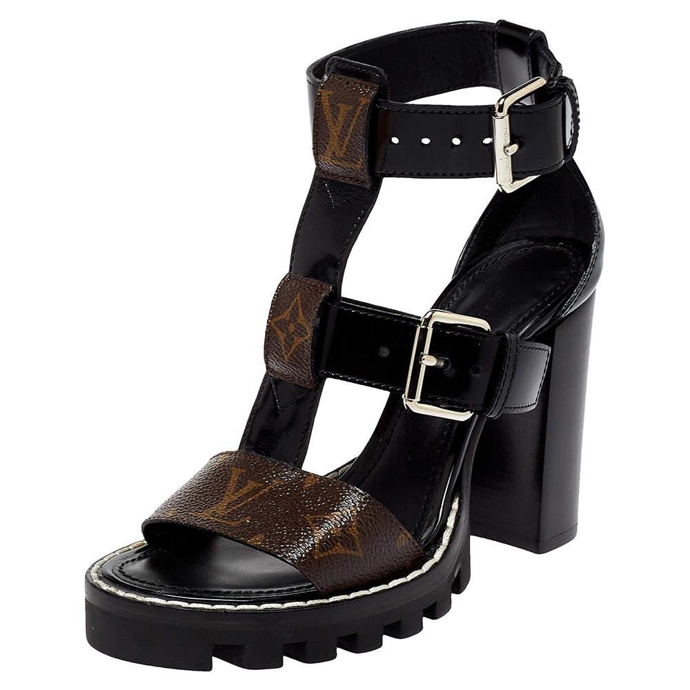 Louis Vuitton Black Patent Leather and Monogram Canvas Star Trail Sandals Size 35