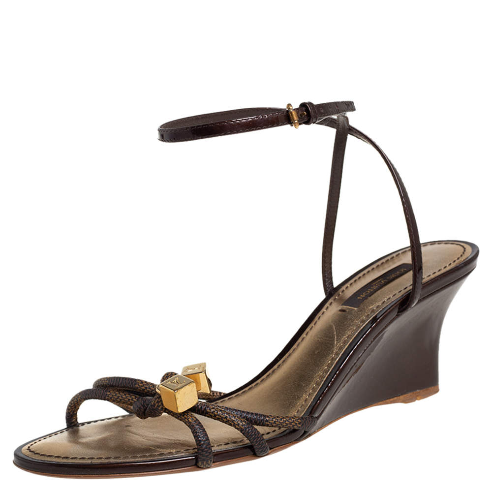 Louis Vuitton Brown Damier Ebene Canvas And Patent Leather Feel Free Wedge Sandals Size 38