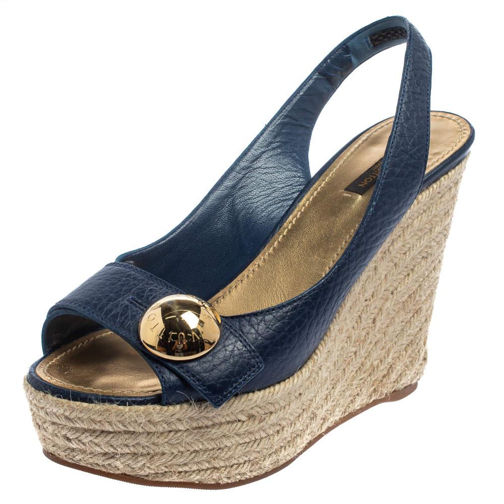 Louis Vuitton Blue Leather Espadrille Wedge Sandals Size 39.5