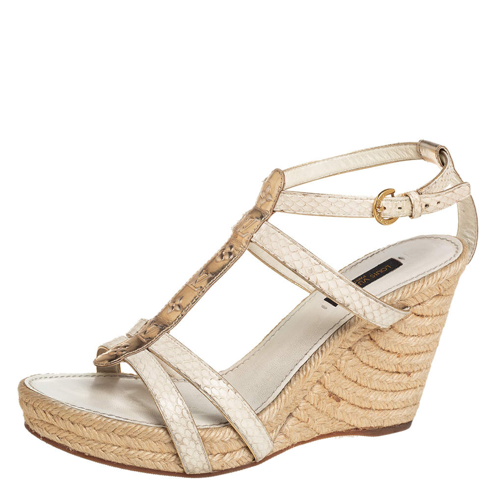 Louis Vuitton Off White/Gold Python And Monogram Embossed Leather Wedge Espadrilles Size 39