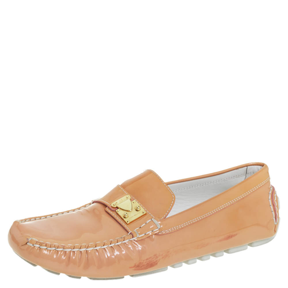 Louis Vuitton Beige Patent Leather Lombok Slip On Loafers Size 40
