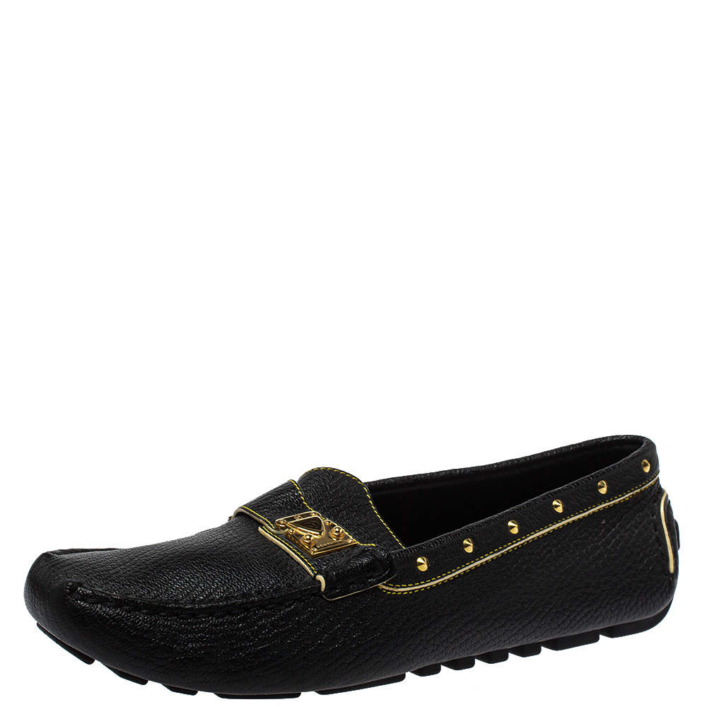 Louis Vuitton Black Leather Lombok Slip On Loafers Size 40.5