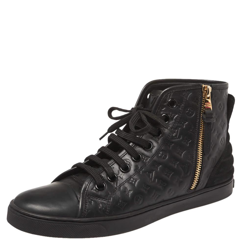 Louis Vuitton Black  Monogram Empreinte Leather Punchy High Top Sneaker Size 38.5