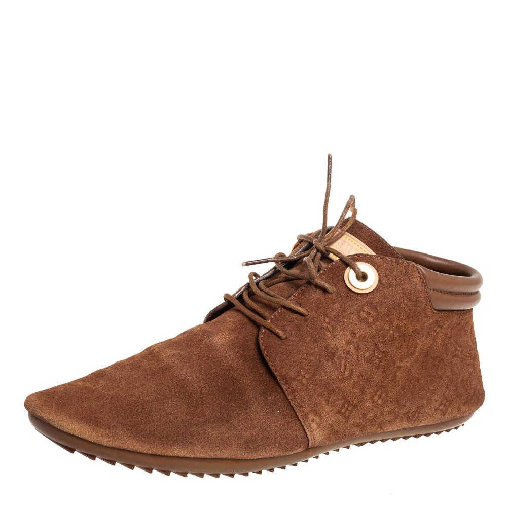 Louis Vuitton Brown Suede Empriente Sneakers Size 36