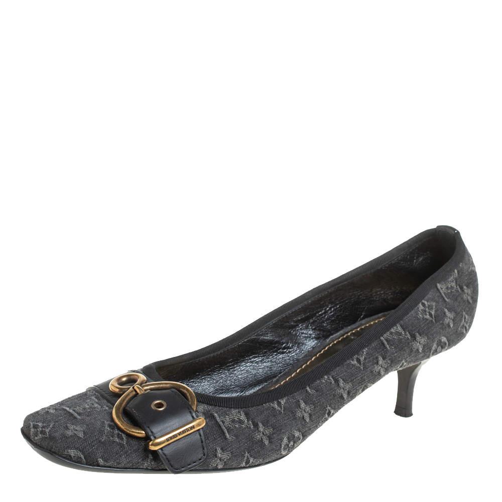 Louis Vuitton Black Monogram Denim And Leather Buckle Pumps Size 40