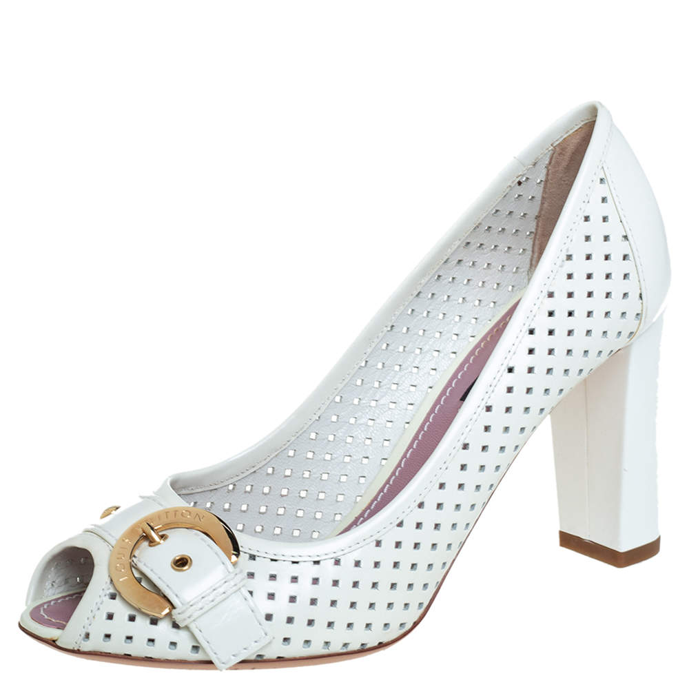 Louis Vuitton White Perforated Leather Buckle Peep Toe Block Heel Pumps Size 36.5