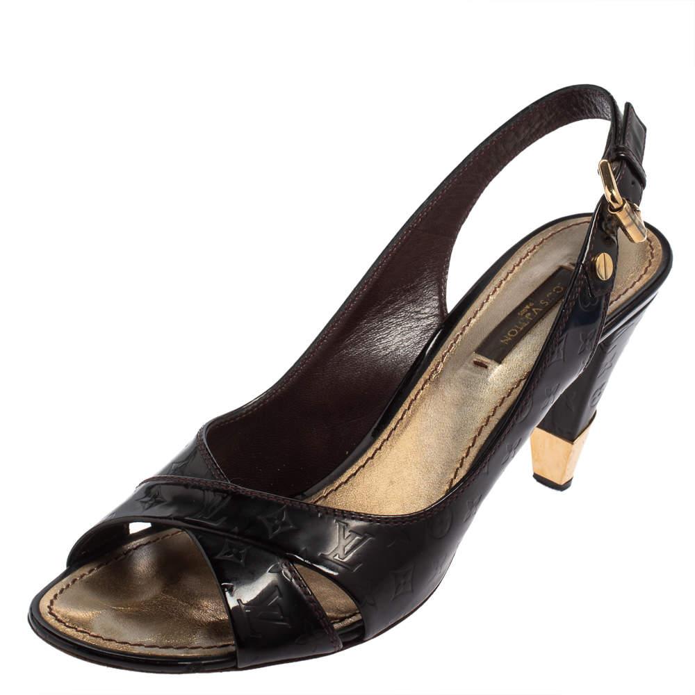 Louis Vuitton Monogram Black Patent Leather Slingback Sandals Size 37