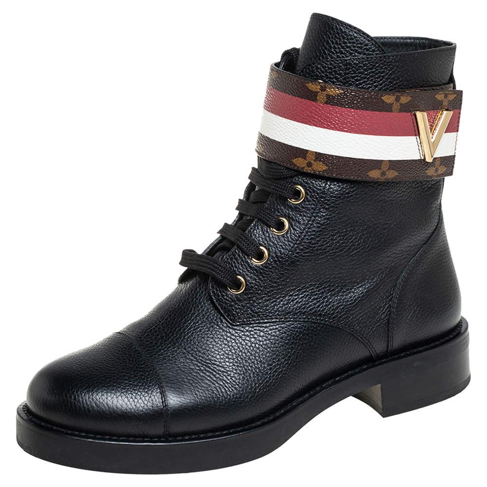 Louis Vuitton Black Leather And Monogram Canvas Wonderland Ranger Ankle Length Combat Boots Size 38