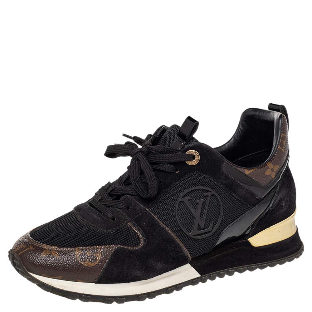 Louis Vuitton Black/Brown Mesh And Monogram Canvas Run Away Low Top Sneakers Size 39