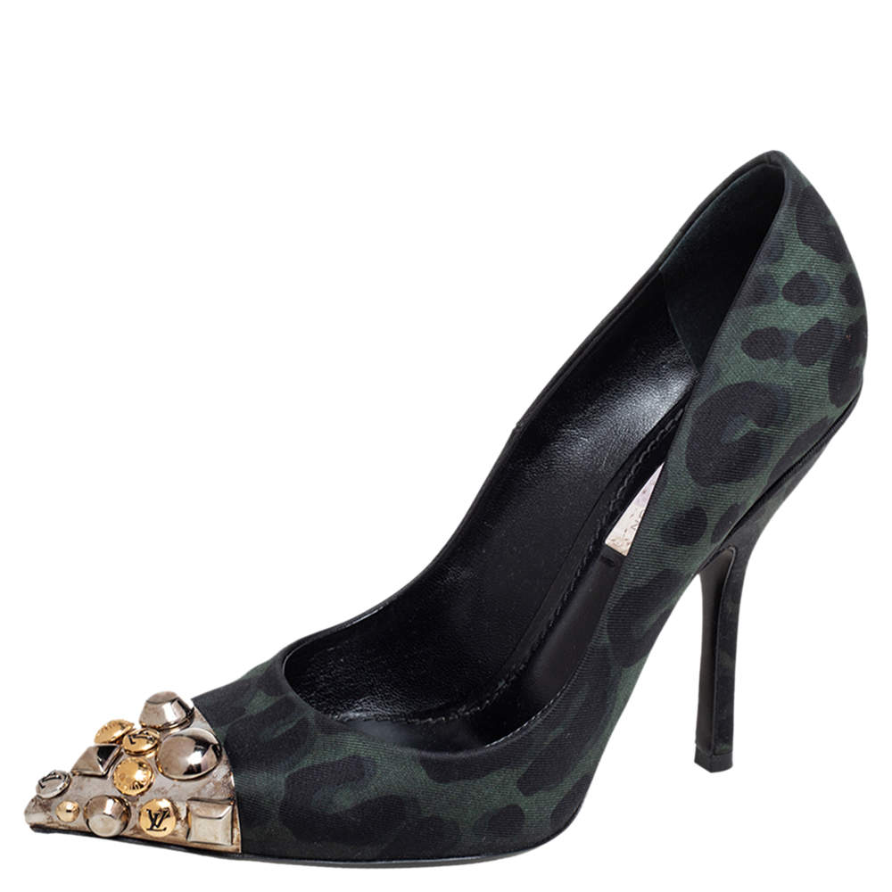 Louis Vuitton Black/Green Leopard Print Fabric Bernice Studded Pointed Toe Pumps Size 36
