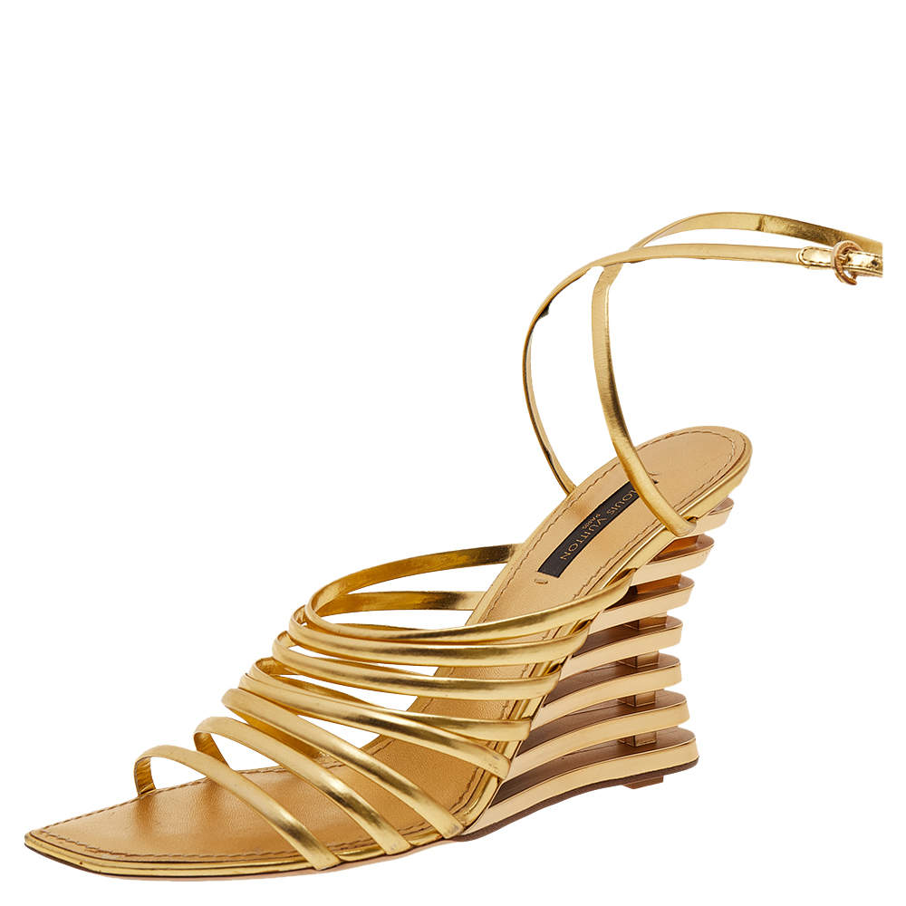 Louis Vuitton Gold Leather Strappy Wedge Sandals Size 37.5
