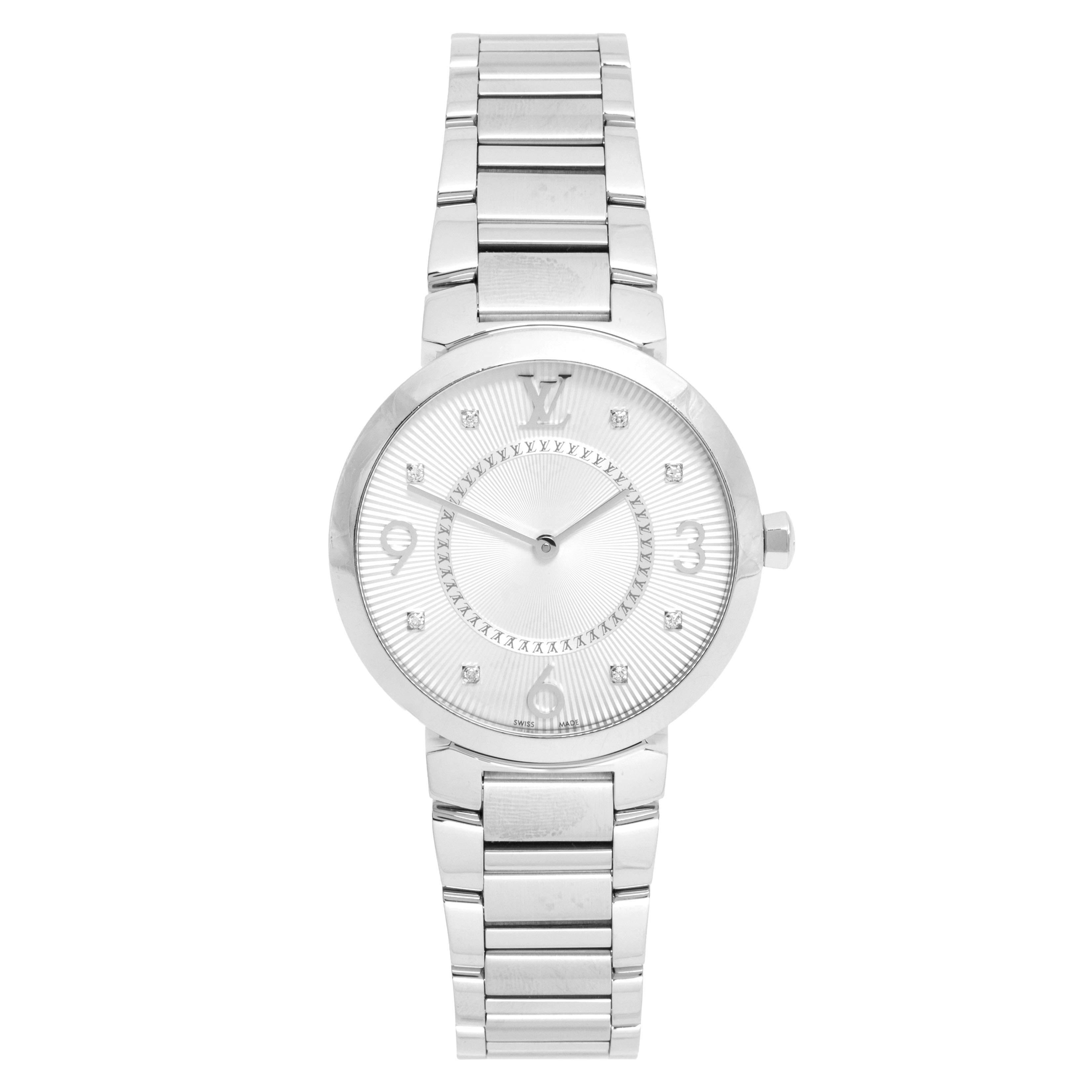 Louis Vuitton Silver White Stainless Steel Q13MJ4 Women's Wristwatch 33 mm