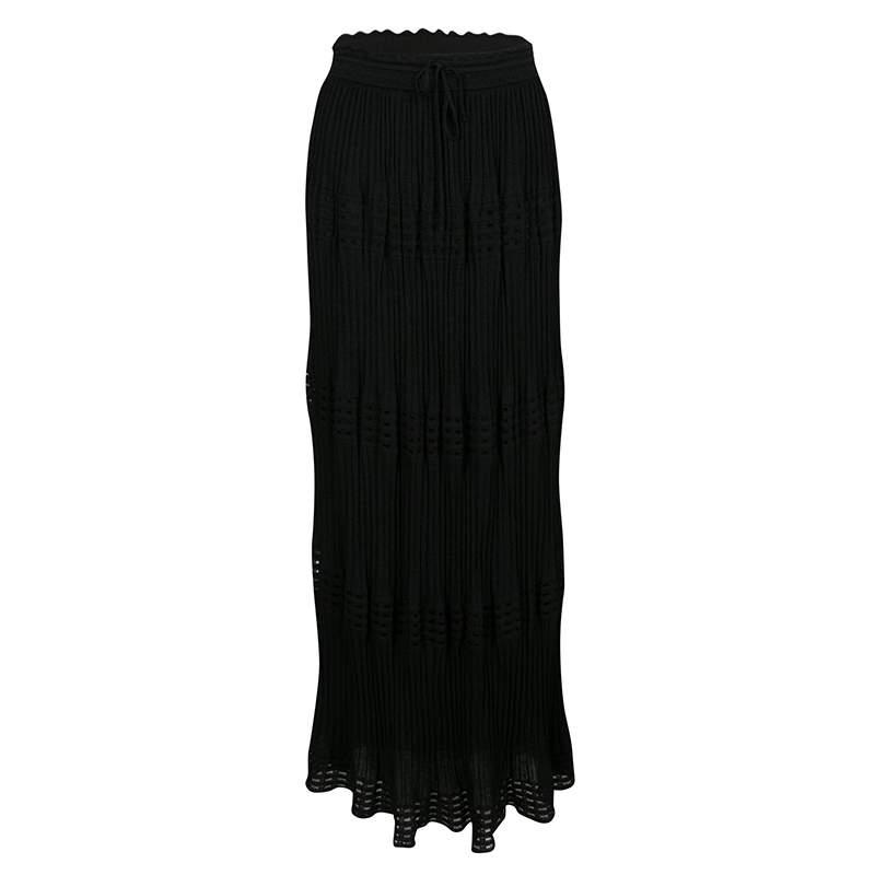 M Missoni Black Lurex Perforated Knit Pleated Skirt M