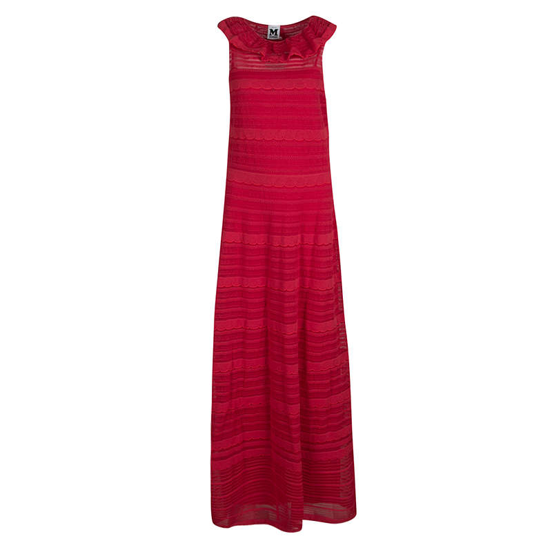 M Missoni Red Knit Ruffled Neck Sleeveless Maxi Dress M