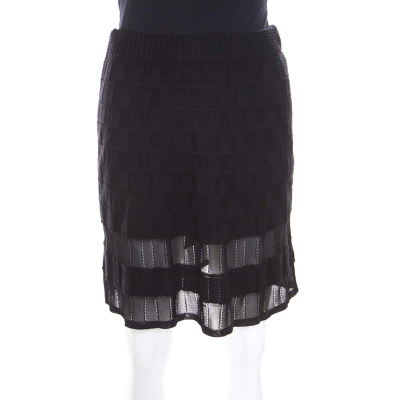 M Missoni Checkerboard Wool Knit Mesh Paneled A Line Skirt S