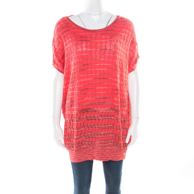 M Missoni Pink Perforated Patterned Knit Ribbed Trim Top L