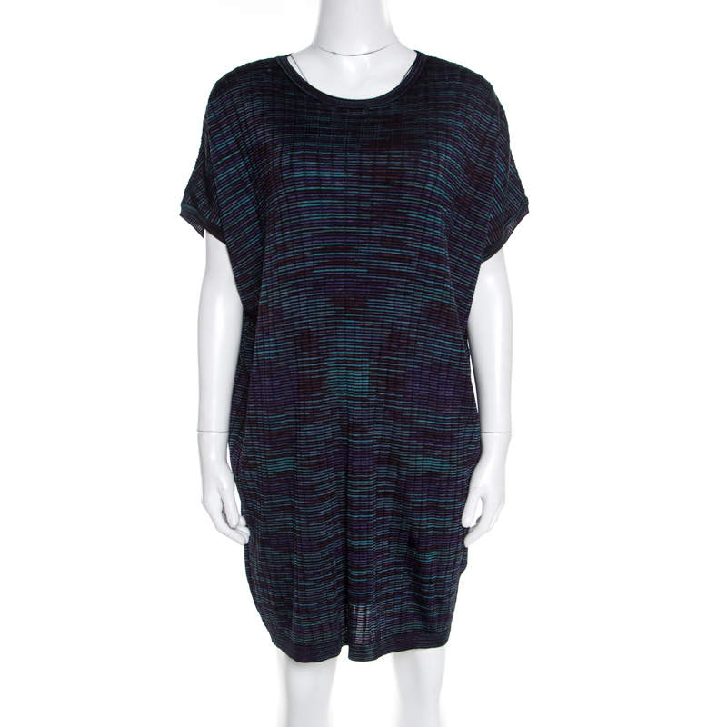 M Missoni Multicolor Fleece Wool Blend Dolman Sleeve Shift Dress L