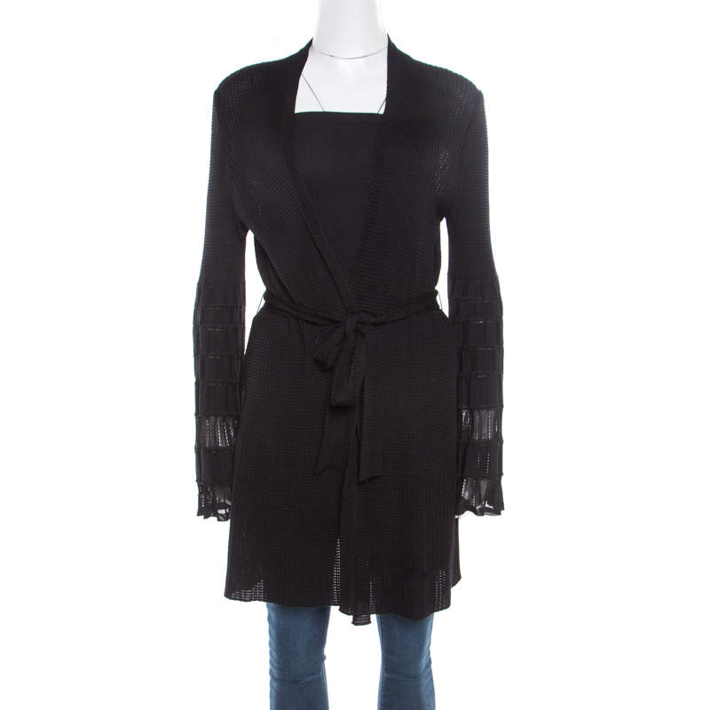 M Missoni Black Perforated Knit Open Front Belted Cardigan L
