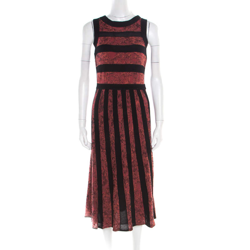 M Missoni Marled Bicolor Mesh Insert Cut Out Detail Striped Sleeveless Dress M