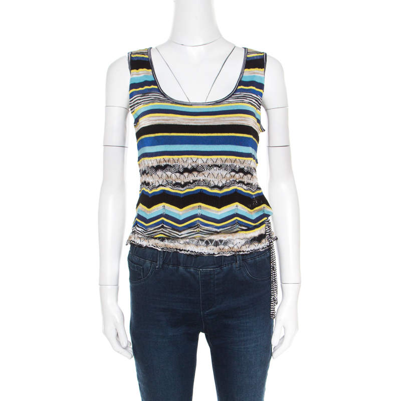 M Missoni Multicolor Striped Perforated Knit Side Tie Detail Sleeveless Top S