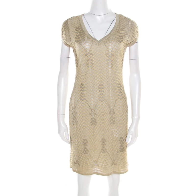 M Missoni Gold Zig Zag Pattern Perforated Lurex Knit Cap Sleeve Dress S