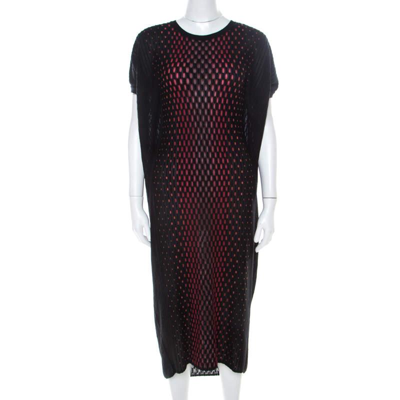 M Missoni Black Patterned Dobby Knit Oversized Dress XS