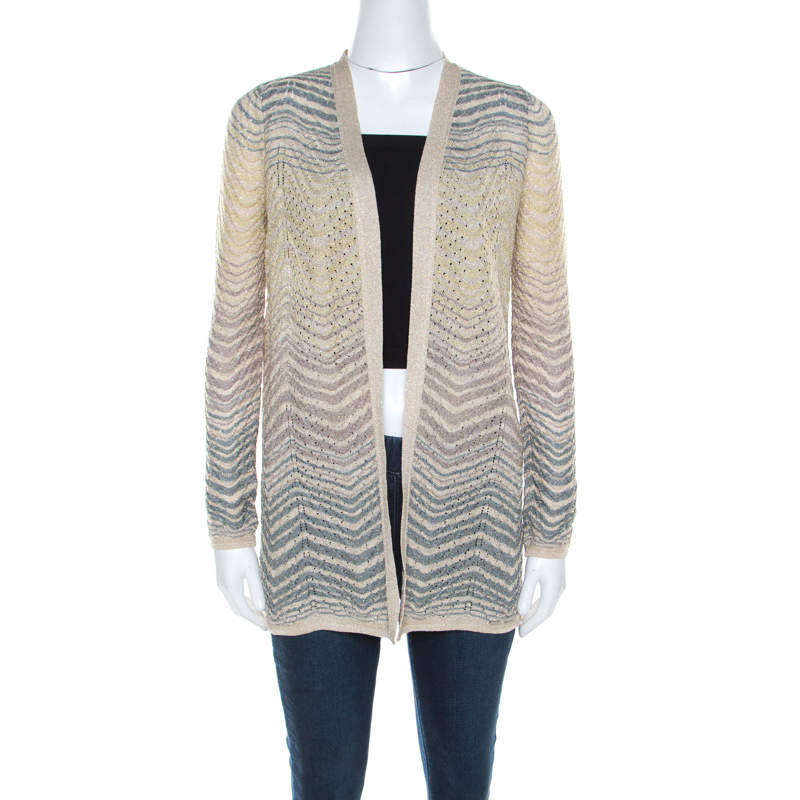 M Missoni Ombre Wave Patterned Lurex Knit Open Front Cardigan S