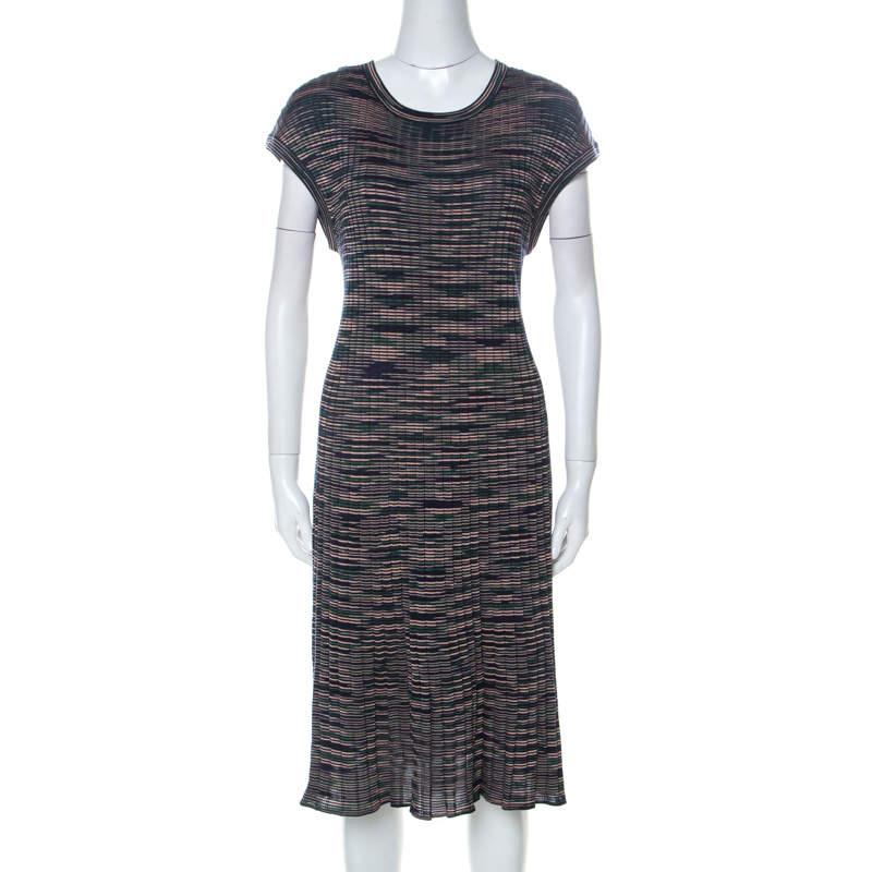 M Missoni Multicolor Striped Knit Short Sleeve Midi Dress L
