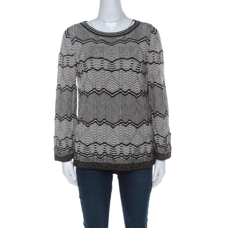 M Missoni Monochrome & Lurex Chevron Knit Long Sleeve Top M