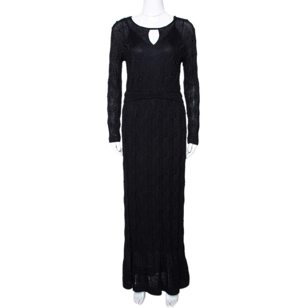 M Missoni Black Textured Wool Blend Knit Maxi Dress L
