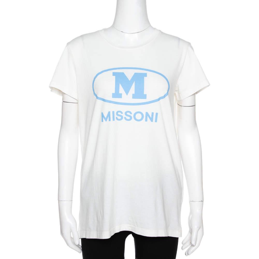 M Missoni Off White Logo Print Cotton Crew Neck T-Shirt M