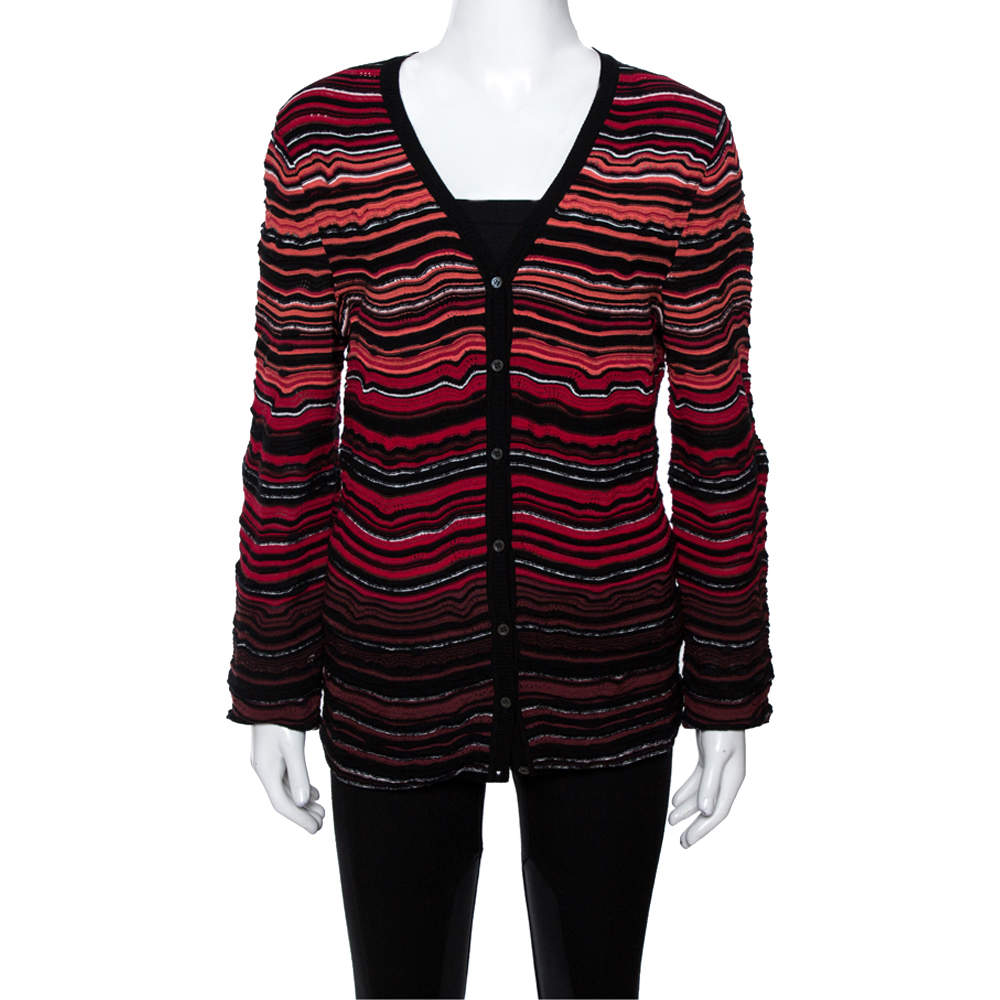 M Missoni Red Wavy Textured Knit Button Front Cardigan L