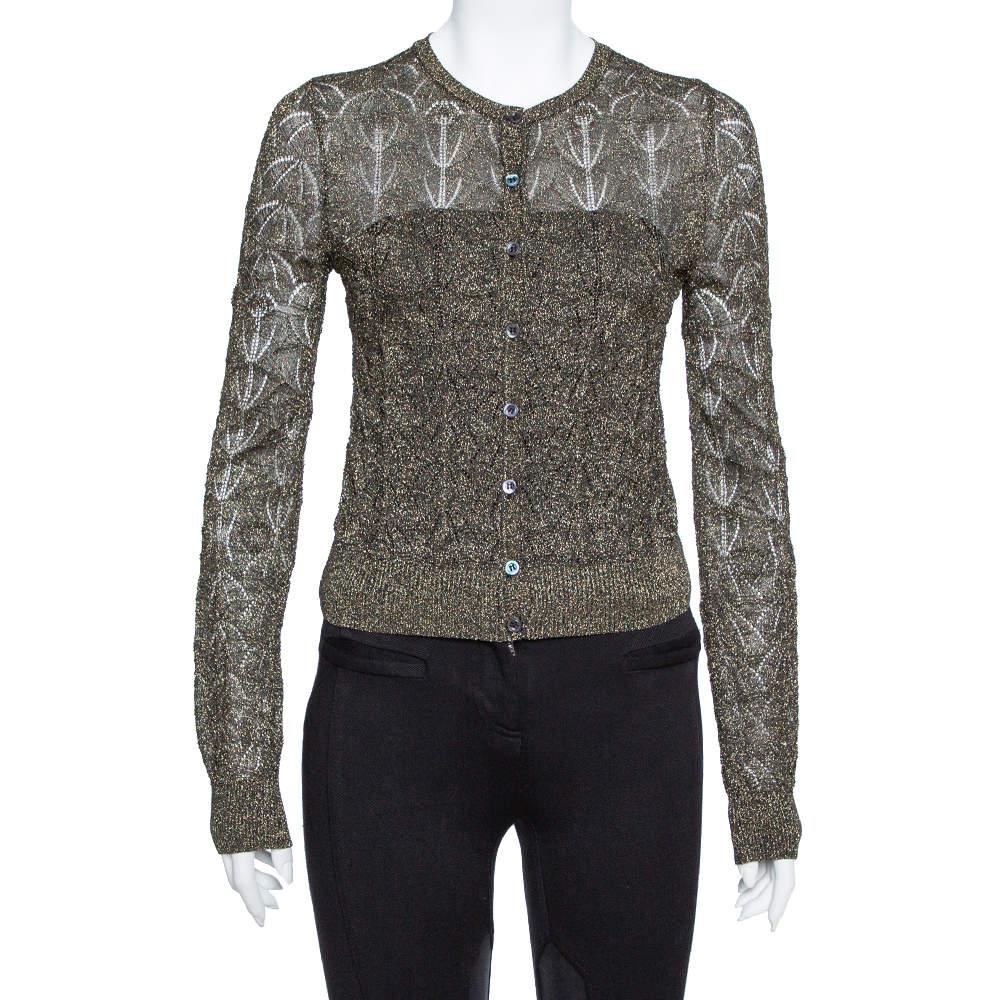 M Missoni Black Lurex Knit Cropped Cardigan S