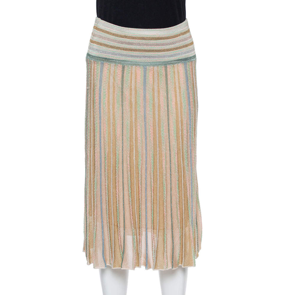 M Missoni Beige Lurex Knit Flared Skirt S