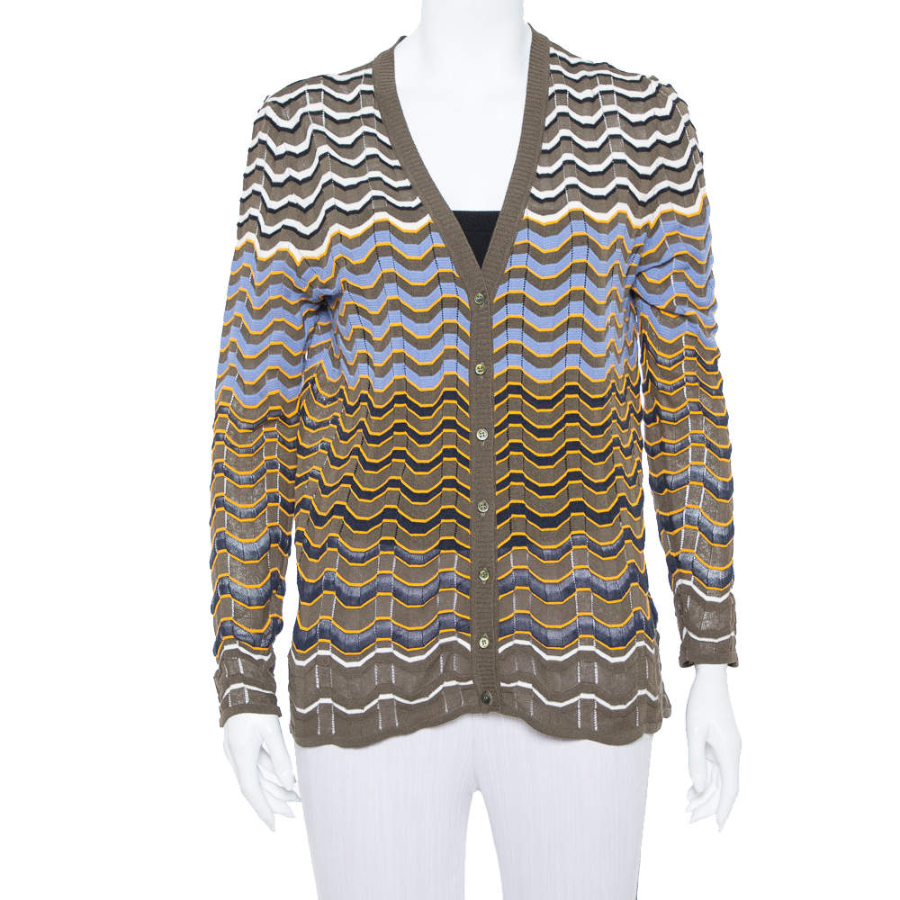M Missoni Olive Green Contrast Pattern Sheer Knit Button Front Cardigan L