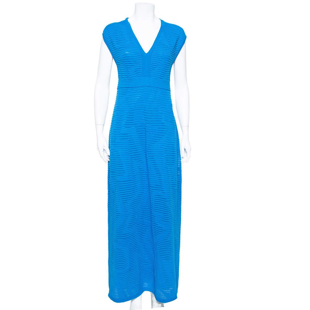 M Missoni Blue Perforated Knit Sleeveless Maxi Dress M