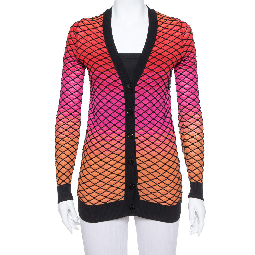 M Missoni Ombre Pink Criss Cross Knit V-Neck Cardigan S